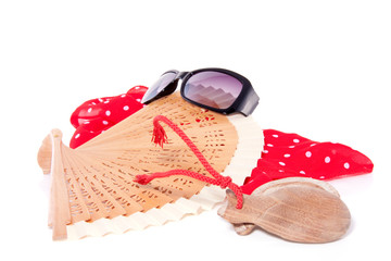 a spanish flamenco fan with wooden  castanets and sunglasses iso