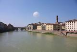 Florence across the Arno River. Palazzo Vecchio & Ponte Vecchio poster