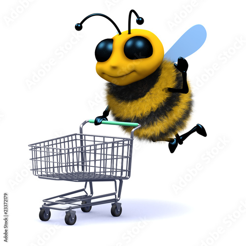 3d Bee shopping with trolley