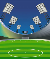 Soccer illustration with stadium. Vector illustration.