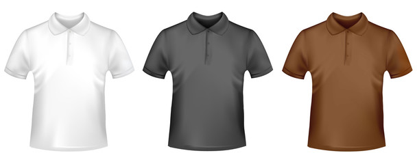 Photo-realistic vector. Two T-shirts. Black, white and brown.
