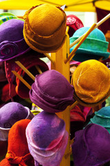 background of colorful hats