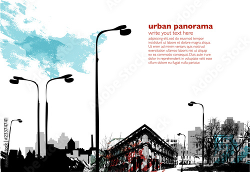 Urban industrial collage - grungy colored