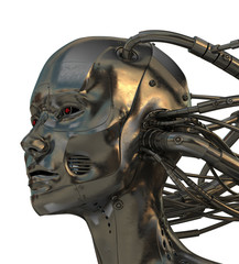 Connected robotic head in profile. 3d isolated