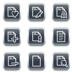 Document web icons set 2, grey square buttons