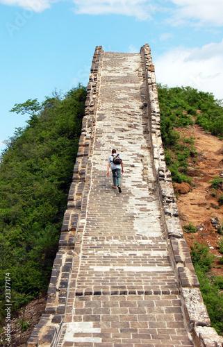 Fotobehang Chinese Muur Climbing Great Wall of China