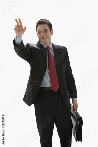 Businessman Hailing A Taxi - Isolated