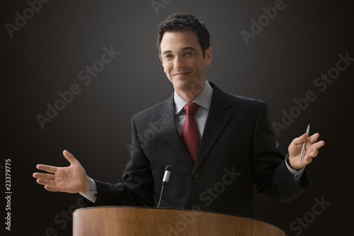 Businessman Giving a Lecture