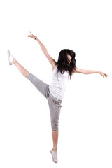 Girl jumping isolated on white background .