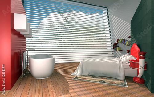 Camera da letto con vasca da bagno immagini e fotografie royalty free su file - Vasca da bagno in camera da letto ...