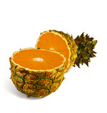 The transformation of pineapple in orange poster