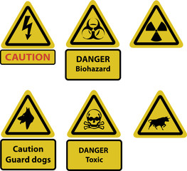 caution and hazard signs vector_1