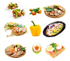 Set of delicious healthy food isolated on white