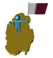 abstract person with flag on Qatar map illustration