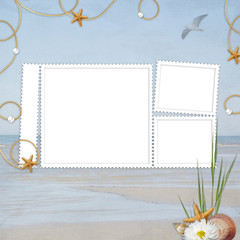 Sea card for the holiday  on the abstract background