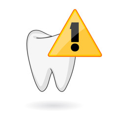 tooth care icon with alert signal