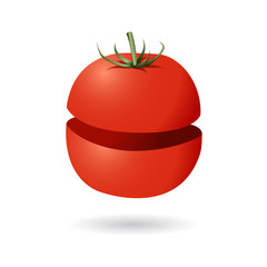 divided tomato vector isolated
