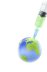 Earth globe and syringe. biotechnology and health protect theme.
