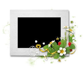 white frame with strawberry flowers
