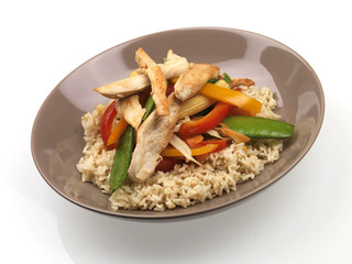 Chicken and Vegetable Stirfry with Brown Rice