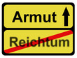 Schild ARMUT - REICHTUM