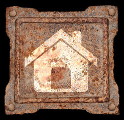 House icon old metal, isolated on black background