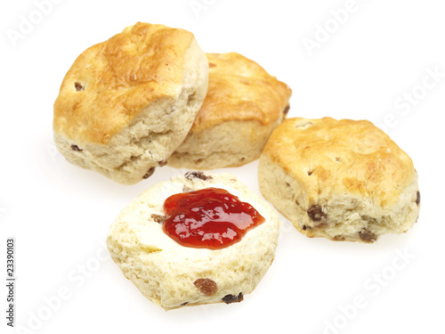 Fruit Scones with Jam and Butter