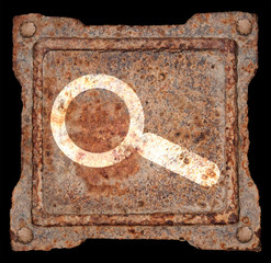 Magnifier icon old metal, isolated on black background