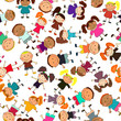 vector seamless background with kids