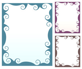 Collection of  beautiful frames with swirled elements
