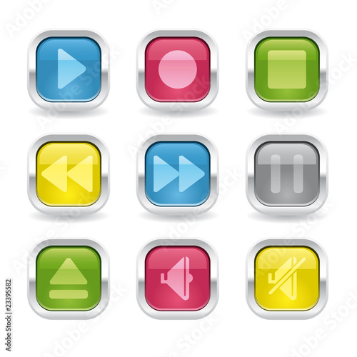 media metalic glossy buttons