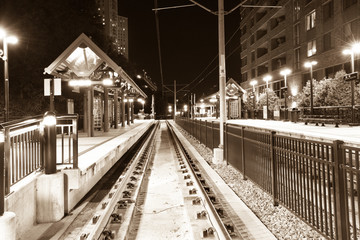 Train station in Hoboken at night, New Jersey