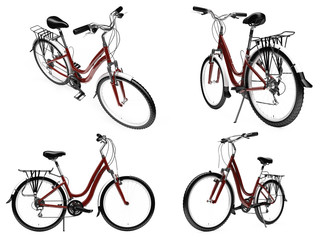 Collage of isolated bike