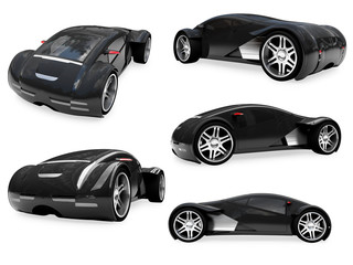 Collage of isolated supreme concept car