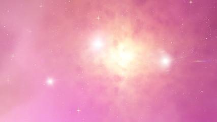 Flight  in space ahead nebula