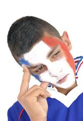 Jeune supporter de l'équipe de France qui doute