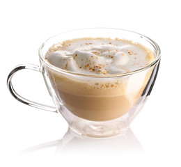 Cappuccino coffee isolated on white