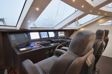 Italy, Viareggio port, luxury yacht Tecnomar 36 (36 meters)
