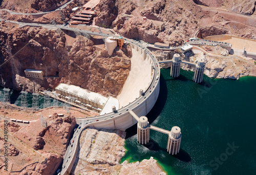 canvas print picture Aerial view of Hoover Dam