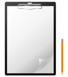Fototapety Clipboard with blank page and pencil.