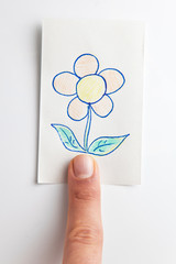 scketch of flower over a finger