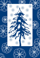winter illustration with tree and leaf