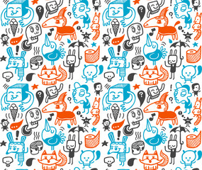 Seamless pattern with funny doodles