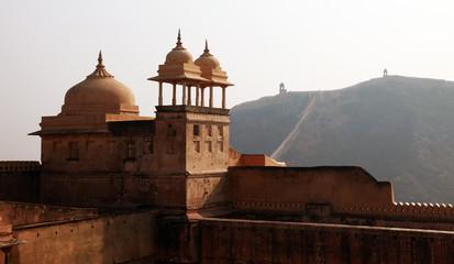 Walls and Minarets at Amber Fort near Jaipur, India.