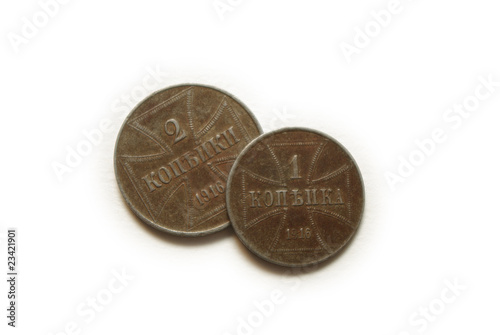 1916 two coins isolated on white background