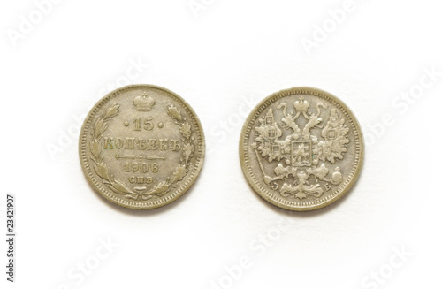 1906 silver coin of Russia isolated on white background