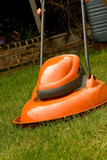 Garden hover lawn mower on grass poster