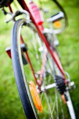 Rear racing bike wheel on the wheel with chain