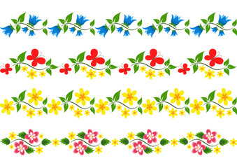 Vector floral border. Set.