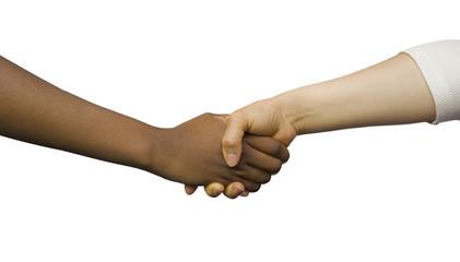 La poignée de main noir et blanc
